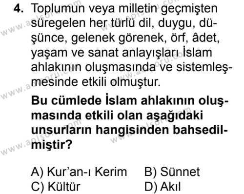 Din Kültürü ve Ahlak Bilgisi 4 Dersi 2018 - 2019 Yılı 3. Dönem Sınavı 4. Soru