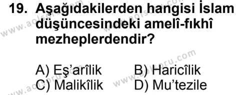 Din Kültürü ve Ahlak Bilgisi 5 Dersi 2011-2012 Yılı 1. Dönem Sınavı 19. Soru