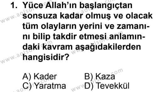 Din Kültürü ve Ahlak Bilgisi 5 Dersi 2011 - 2012 Yılı 3. Dönem Sınav Soruları 1. Soru