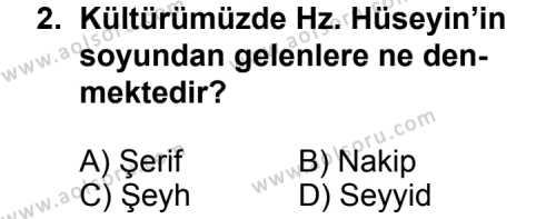 Din Kültürü ve Ahlak Bilgisi 5 Dersi 2011 - 2012 Yılı 3. Dönem Sınav Soruları 2. Soru