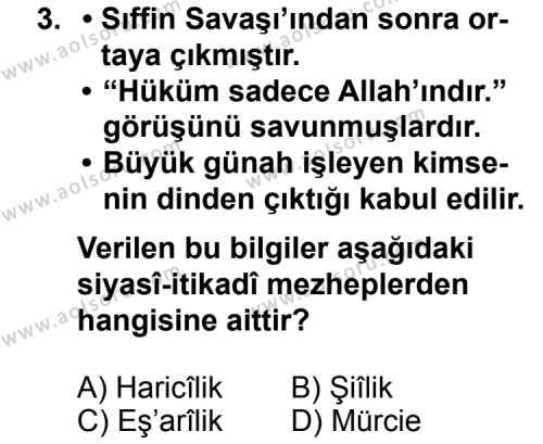 Din Kültürü ve Ahlak Bilgisi 5 Dersi 2011 - 2012 Yılı 3. Dönem Sınav Soruları 3. Soru