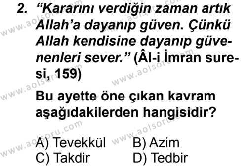 Din Kültürü ve Ahlak Bilgisi 5 Dersi 2011 - 2012 Yılı Ek Sınav Soruları 2. Soru
