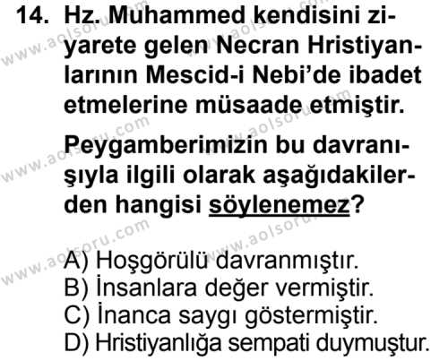 Din Kültürü ve Ahlak Bilgisi 5 Dersi 2012-2013 Yılı 1. Dönem Sınavı 14. Soru