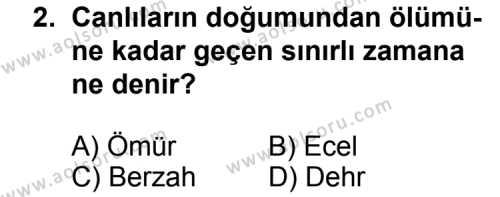 Din Kültürü ve Ahlak Bilgisi 5 Dersi 2012 - 2013 Yılı 3. Dönem Sınav Soruları 2. Soru