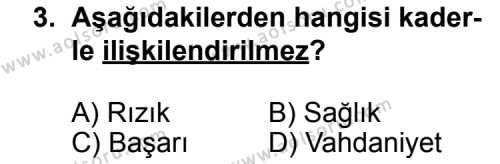 Din Kültürü ve Ahlak Bilgisi 5 Dersi 2012 - 2013 Yılı 3. Dönem Sınav Soruları 3. Soru