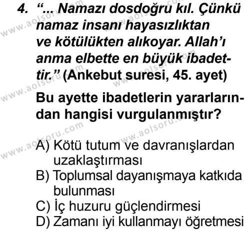 Din Kültürü ve Ahlak Bilgisi 5 Dersi 2012 - 2013 Yılı 3. Dönem Sınav Soruları 4. Soru