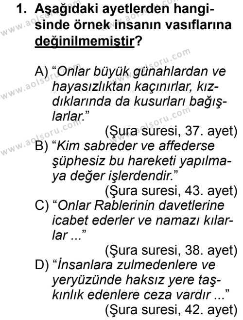 Din Kültürü ve Ahlak Bilgisi 5 Dersi 2013 - 2014 Yılı 3. Dönem Sınav Soruları 1. Soru