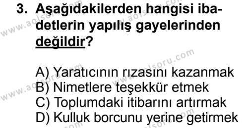 Din Kültürü ve Ahlak Bilgisi 5 Dersi 2013 - 2014 Yılı 3. Dönem Sınav Soruları 3. Soru