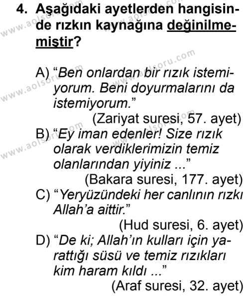 Din Kültürü ve Ahlak Bilgisi 5 Dersi 2013 - 2014 Yılı 3. Dönem Sınav Soruları 4. Soru