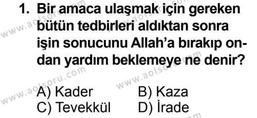 Din Kültürü ve Ahlak Bilgisi 5 Dersi 2014 - 2015 Yılı 3. Dönem Sınav Soruları 1. Soru