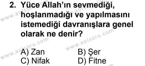Din Kültürü ve Ahlak Bilgisi 5 Dersi 2014 - 2015 Yılı 3. Dönem Sınav Soruları 2. Soru