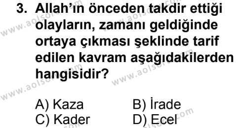 Din Kültürü ve Ahlak Bilgisi 5 Dersi 2014 - 2015 Yılı 3. Dönem Sınav Soruları 3. Soru