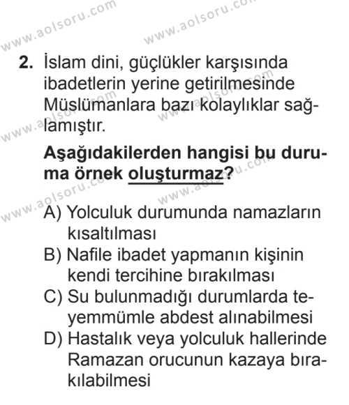 Din Kültürü ve Ahlak Bilgisi 5 Dersi 2017 - 2018 Yılı 3. Dönem Sınavı 2. Soru