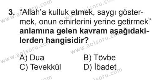 Din Kültürü ve Ahlak Bilgisi 5 Dersi 2017 - 2018 Yılı 3. Dönem Sınavı 3. Soru