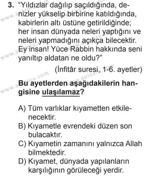 Din Kültürü ve Ahlak Bilgisi 5 Dersi 2018 - 2019 Yılı 2. Dönem Sınavı 3. Soru