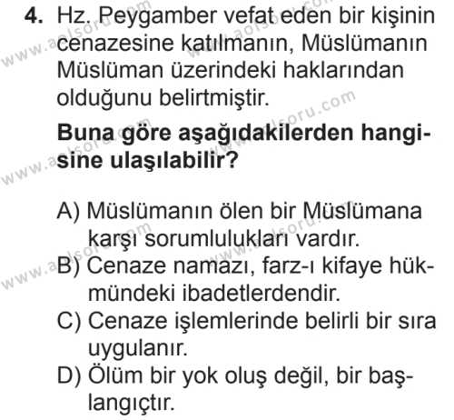 Din Kültürü ve Ahlak Bilgisi 5 Dersi 2018 - 2019 Yılı 2. Dönem Sınavı 4. Soru