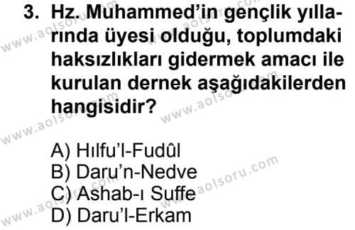 Din Kültürü ve Ahlak Bilgisi 6 Dersi 2011 - 2012 Yılı 1. Dönem Sınav Soruları 3. Soru