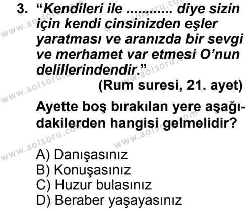 Din Kültürü ve Ahlak Bilgisi 6 Dersi 2013 - 2014 Yılı 3. Dönem Sınav Soruları 3. Soru