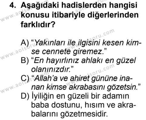 Din Kültürü ve Ahlak Bilgisi 6 Dersi 2013 - 2014 Yılı 3. Dönem Sınav Soruları 4. Soru