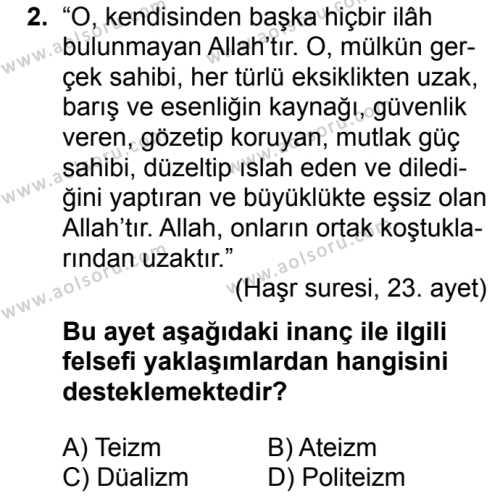 Din Kültürü ve Ahlak Bilgisi 6 Dersi 2018 - 2019 Yılı 3. Dönem Sınav Soruları 2. Soru