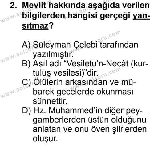 Din Kültürü ve Ahlak Bilgisi 7 Dersi 2011 - 2012 Yılı Ek Sınavı 2. Soru