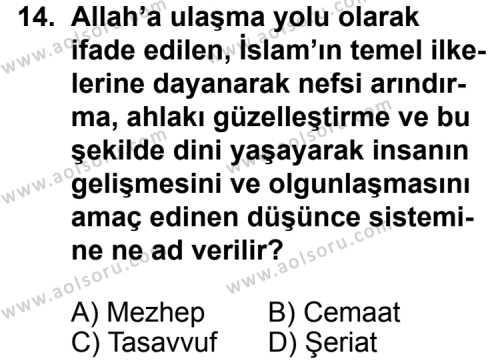 Din Kültürü ve Ahlak Bilgisi 7 Dersi 2012-2013 Yılı 1. Dönem Sınavı 14. Soru