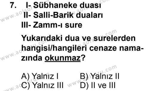 Din Kültürü ve Ahlak Bilgisi 7 Dersi 2013-2014 Yılı 1. Dönem Sınavı 7. Soru