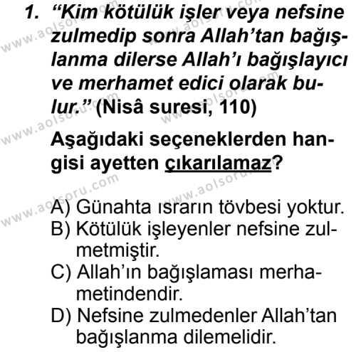 Din Kültürü ve Ahlak Bilgisi 8 Dersi 2011-2012 Yılı 1. Dönem Sınavı 1. Soru