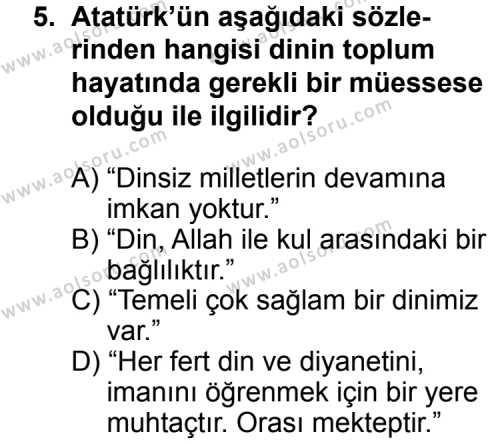 Din Kültürü ve Ahlak Bilgisi 8 Dersi 2013-2014 Yılı 1. Dönem Sınavı 5. Soru