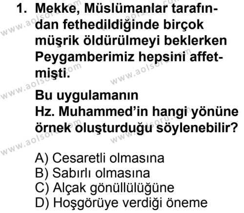 Din Kültürü ve Ahlak Bilgisi 8 Dersi 2013 - 2014 Yılı 3. Dönem Sınav Soruları 1. Soru