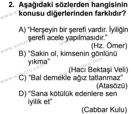 Din Kültürü ve Ahlak Bilgisi 8 Dersi 2013 - 2014 Yılı 3. Dönem Sınav Soruları 2. Soru
