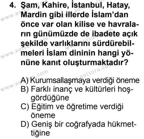 Din Kültürü ve Ahlak Bilgisi 8 Dersi 2013 - 2014 Yılı 3. Dönem Sınav Soruları 4. Soru
