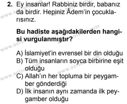 Din Kültürü ve Ahlak Bilgisi 8 Dersi 2017 - 2018 Yılı 2. Dönem Sınavı 2. Soru