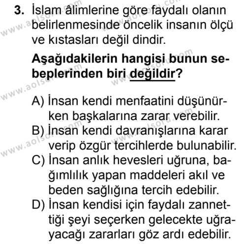 Din Kültürü ve Ahlak Bilgisi 8 Dersi 2018 - 2019 Yılı 1. Dönem Sınavı 3. Soru