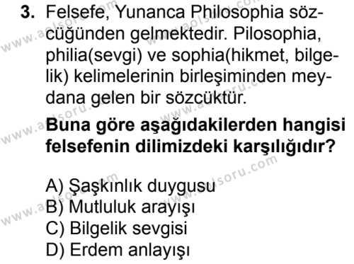 Felsefe 1 Dersi 2018 - 2019 Yılı 1. Dönem Sınav Soruları 3. Soru