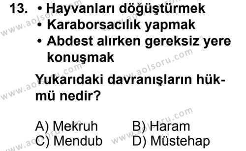 Fıkıh 1 Dersi 2011-2012 Yılı 1. Dönem Sınavı 13. Soru