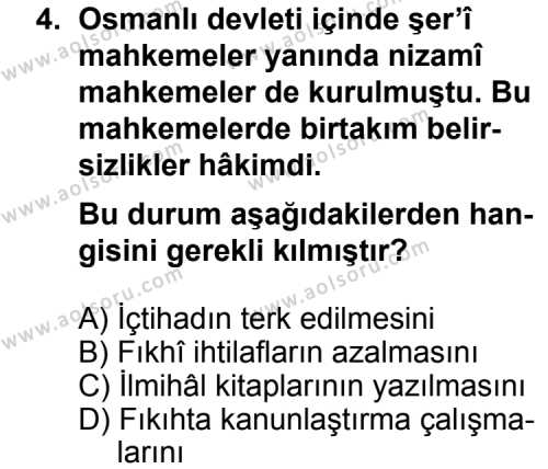 Fıkıh 1 Dersi 2011 - 2012 Yılı Ek Sınav Soruları 4. Soru