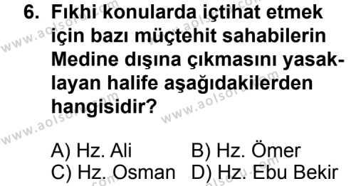 Fıkıh 1 Dersi 2012-2013 Yılı 1. Dönem Sınavı 6. Soru