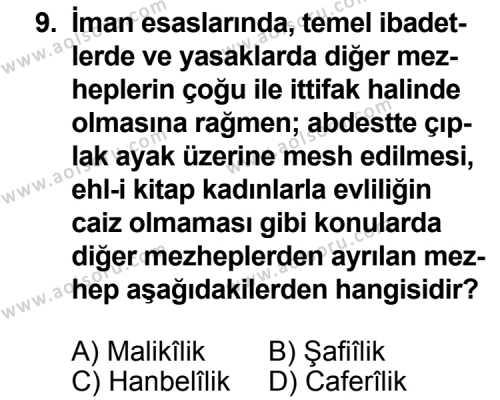 Fıkıh 1 Dersi 2012-2013 Yılı 1. Dönem Sınavı 9. Soru