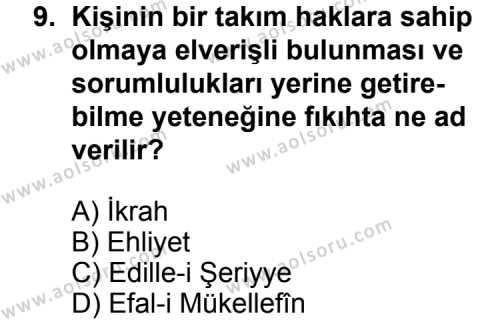 Fıkıh 1 Dersi 2013-2014 Yılı 1. Dönem Sınavı 9. Soru