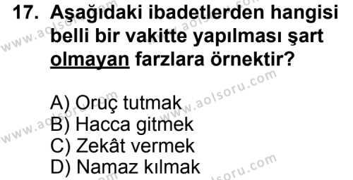 Fıkıh 1 Dersi 2013-2014 Yılı 1. Dönem Sınavı 17. Soru