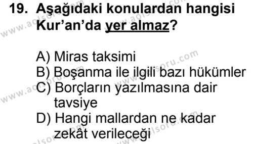 Fıkıh 1 Dersi 2013-2014 Yılı 1. Dönem Sınavı 19. Soru