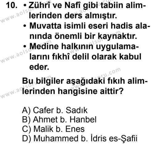 Fıkıh 1 Dersi 2014-2015 Yılı 1. Dönem Sınavı 10. Soru