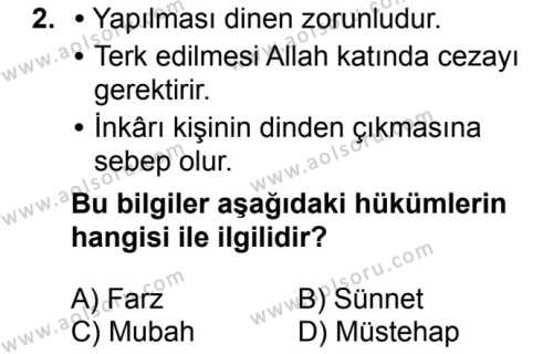Fıkıh 1 Dersi 2017 - 2018 Yılı Ek Sınavı 2. Soru