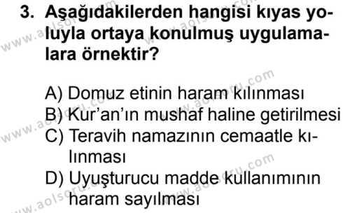 Fıkıh 1 Dersi 2017 - 2018 Yılı Ek Sınavı 3. Soru