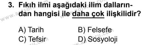 Fıkıh 1 Dersi 2018 - 2019 Yılı Ek Sınav Soruları 3. Soru
