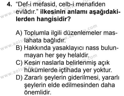 Fıkıh 1 Dersi 2018 - 2019 Yılı Ek Sınav Soruları 4. Soru