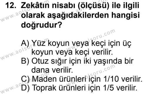Fıkıh 2 Dersi 2012-2013 Yılı 1. Dönem Sınavı 12. Soru