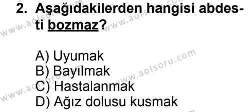 Fıkıh 2 Dersi 2012 - 2013 Yılı 2. Dönem Sınavı 2. Soru