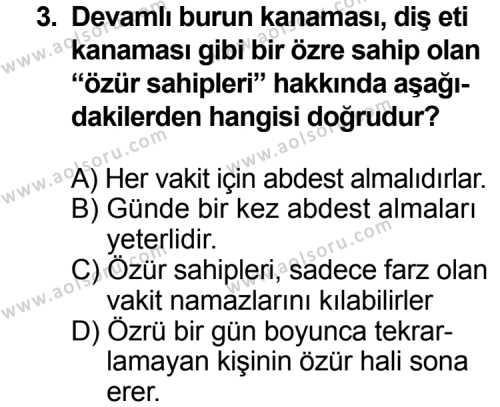 Fıkıh 2 Dersi 2012 - 2013 Yılı 2. Dönem Sınavı 3. Soru